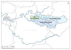 Carte 1 - Observatoire de Recherche du GIS ORACLE: Bassins versants du Grand Morin, du Petit Morin et bassin versant de l'Orgeval.